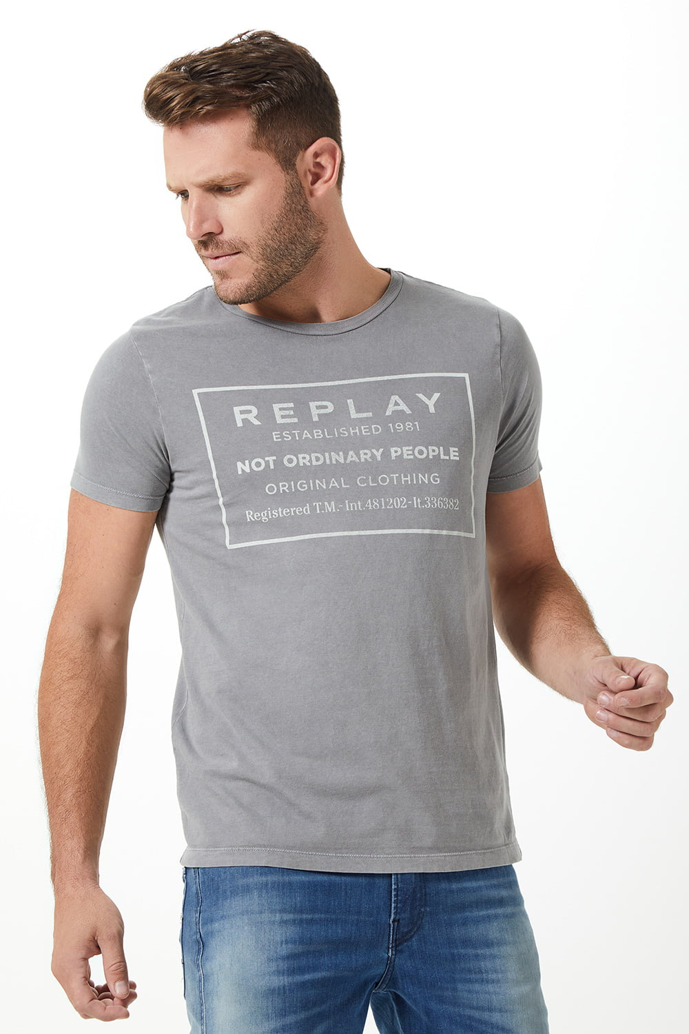 T-SHIRT REPLAY 1981 CINZA